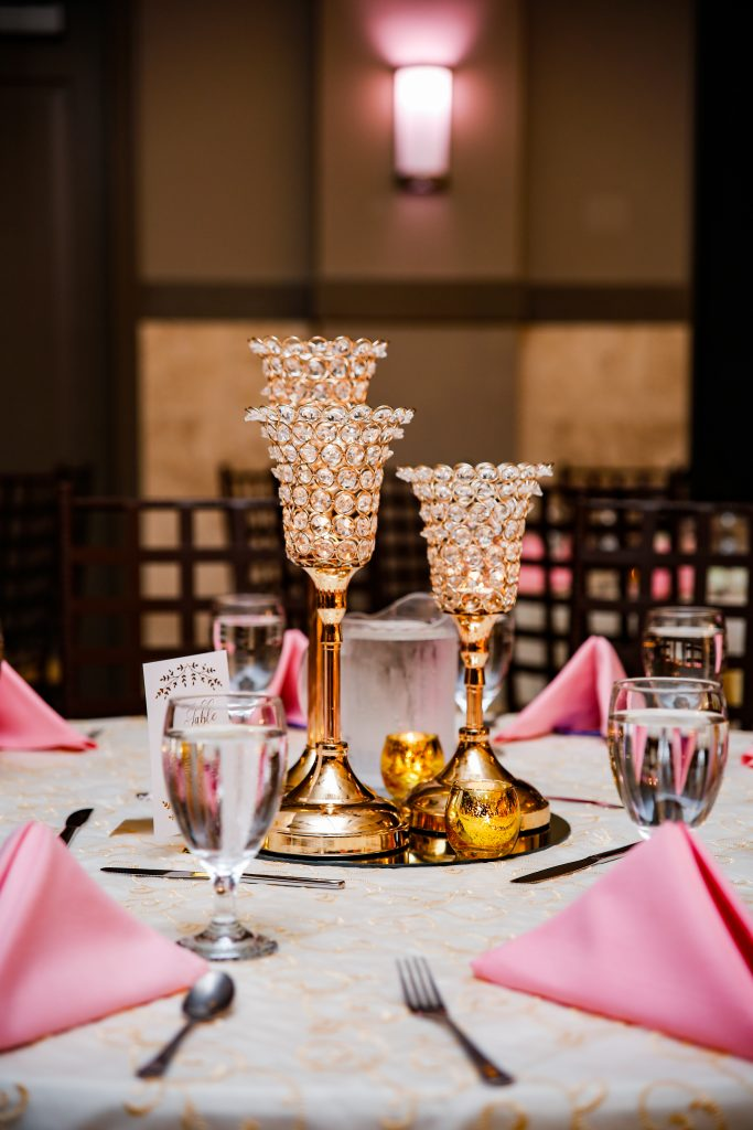 Crystal candle holders on wedding day in Texas