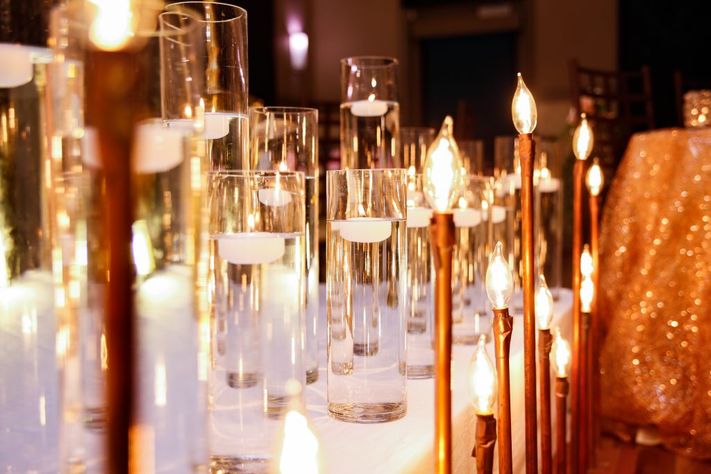 Wedding day floating candles