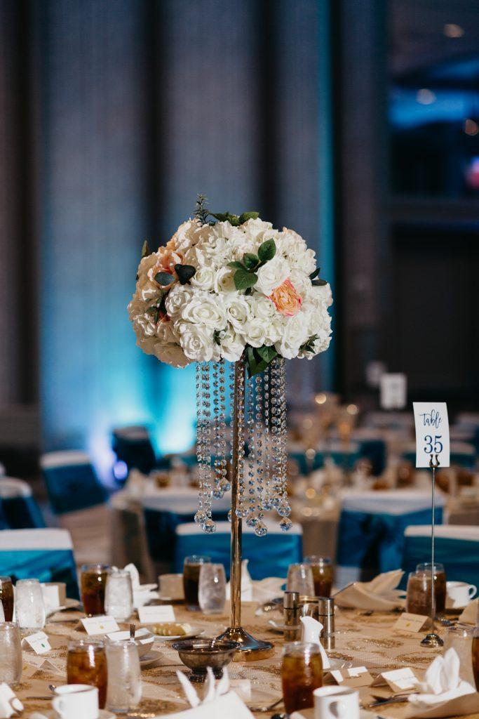wedding flower centerpiece with crystals