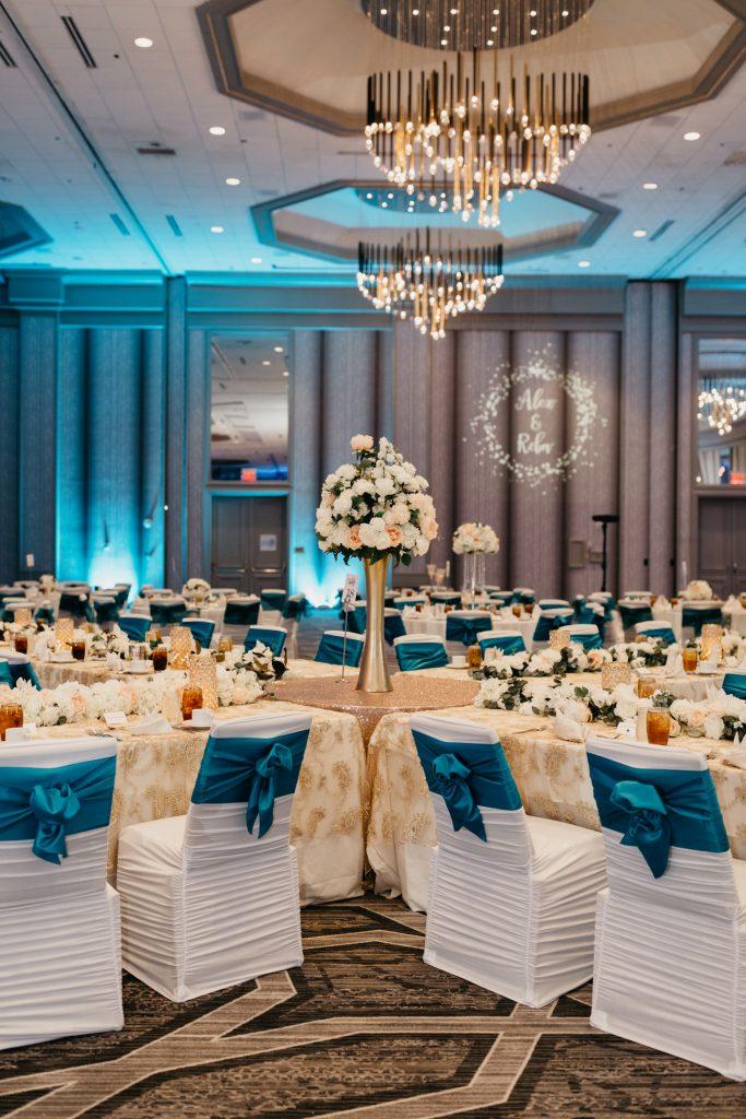 Large ballroom wedding reception