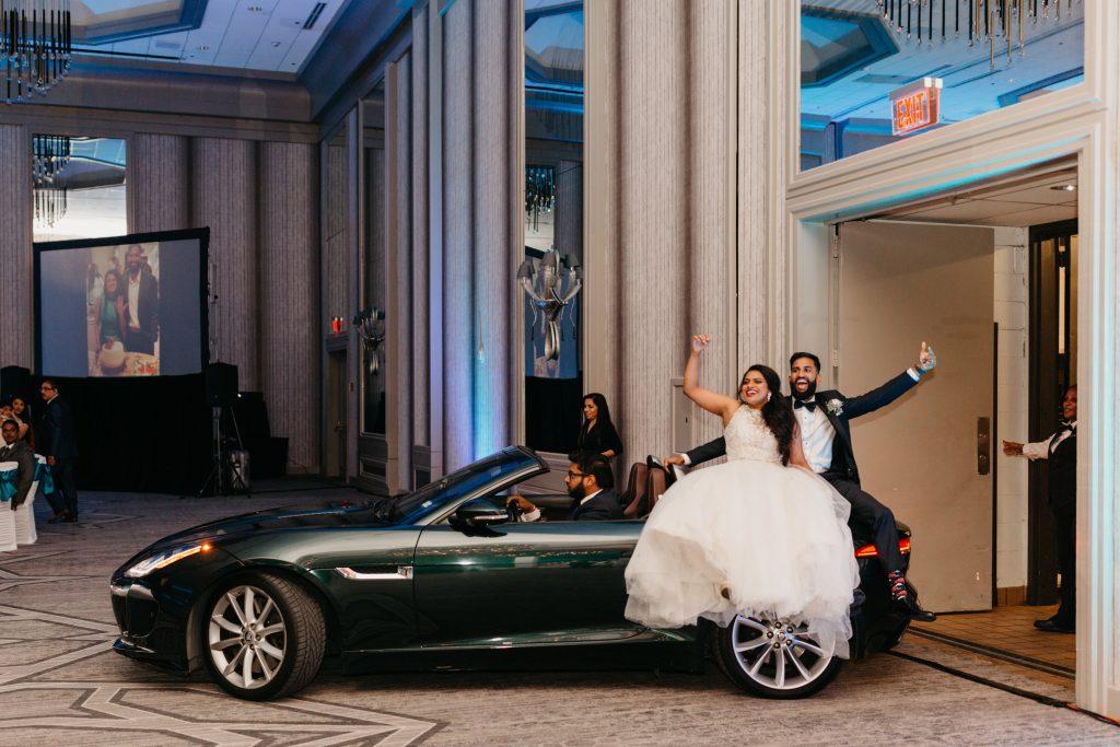 Wedding planner Texas with convertible getaway car
