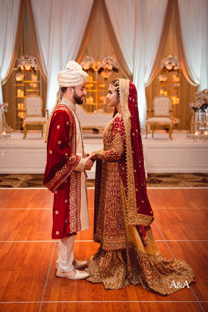 Husband and Wife first look on wedding day