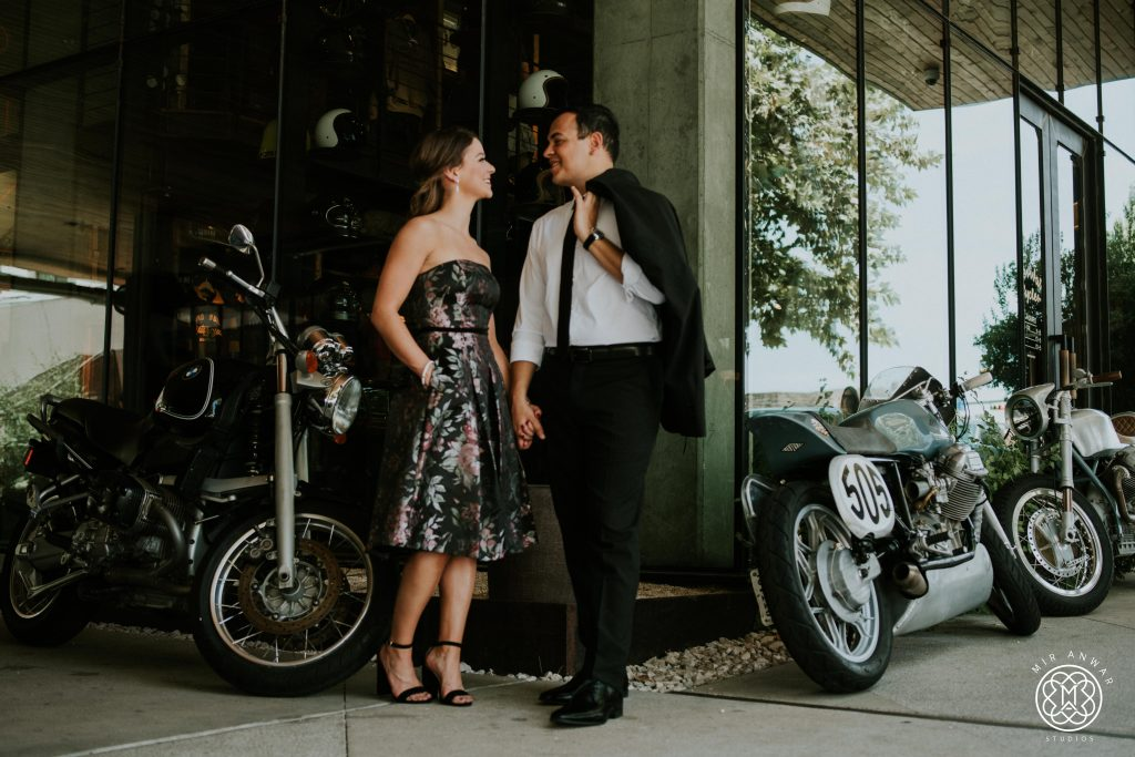 Bride and groom with motorcycles