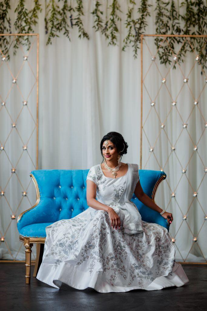 Blue settee for Bridal Portrait